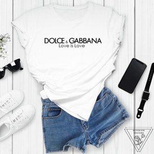 D&G inspirited Logo Unisex White Gold T-Shirt